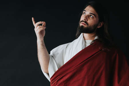 Jesus in white and red robes talking to the God Standard-Bild