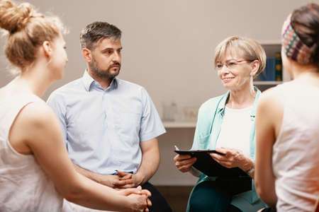 Group psychotherapy with professional counselor for people with anxiety problems