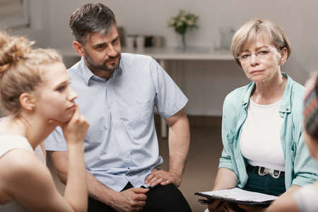 Group psychotherapy with professional counselor for people with social problems