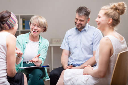 Group psychotherapy with professional counselor for people with mood disorder Stok Fotoğraf