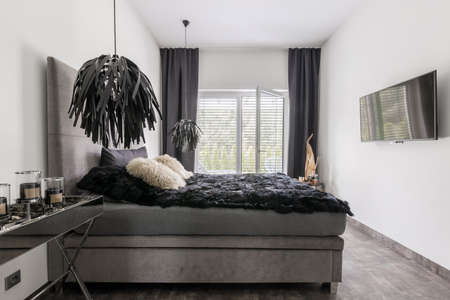 Elegant gray bed with black bedding in bright room interior