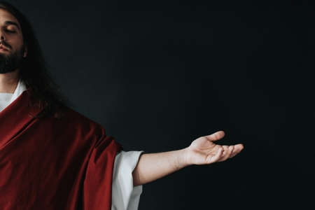 Jesus Christ waiting for the bless from God with his hands wide open Stok Fotoğraf