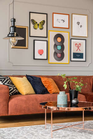 Modern scandinavian apartment with trendy furniture, real photo Stok Fotoğraf