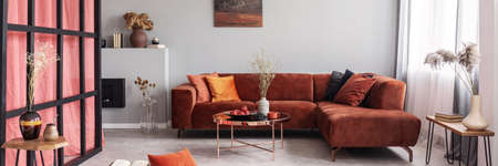 Elegant living room interior with comfortable sofa, real photo Stock Photo