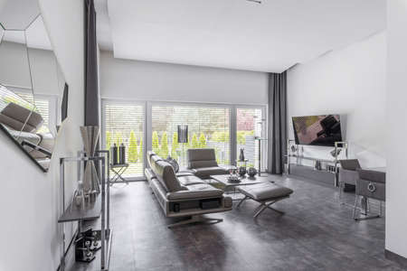 Big window in trendy gray living room interior of suburban house