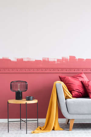 Modern living room interior with burgundy and white ombre wall Stock fotó