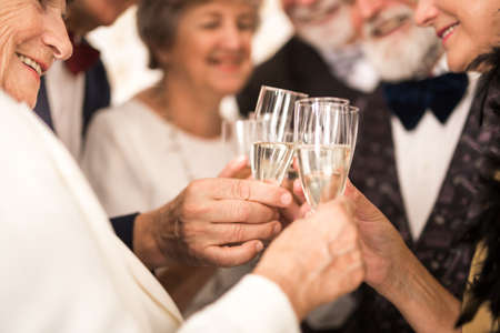 Group of older happy friends toasting with champagne during New Year's Eve