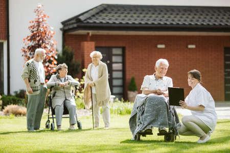 Elderly family in the nursing home, photo