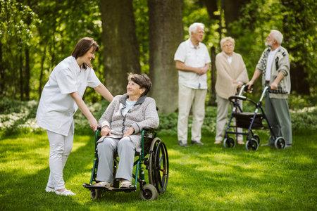 The elderly spending time in the garden