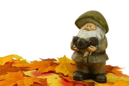 troll dolls: a little dwarf between colored leaves
