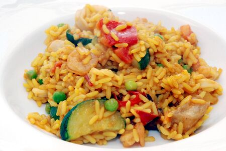 Paella seafood and vegetables Stock Photo - 12692353