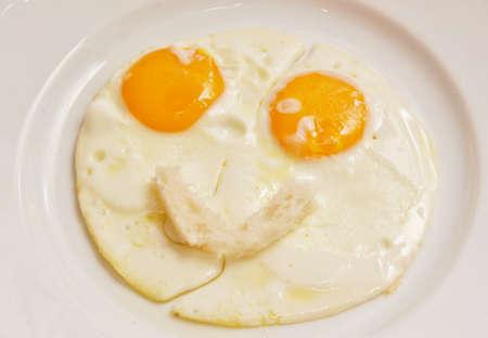 albumen: plate white fried eggs Stock Photo