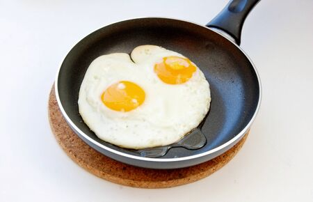 nonstick: fried eggs in pan non-stick,two eggs, pot, pan