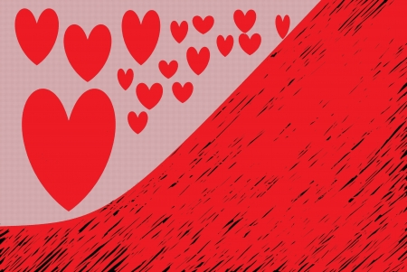 fondness: red hearts drawn on a pink background and red half