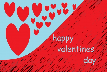 fondness: red hearts drawn on background blue and red Stock Photo