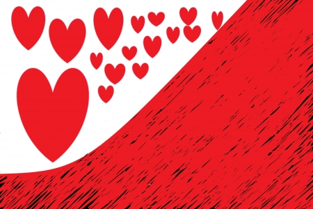 fondness: red hearts drawn on white and half red Stock Photo