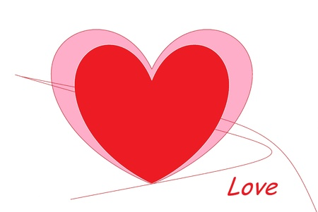 fondness: red hearts drawn on white background