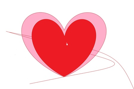 red hearts drawn on white background