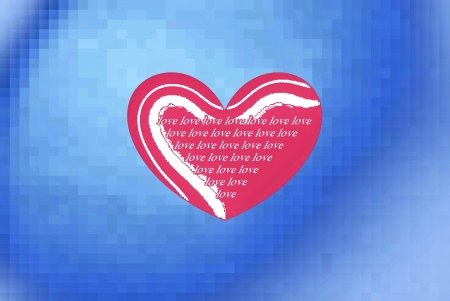 pink heart with writing, blue sky background photo