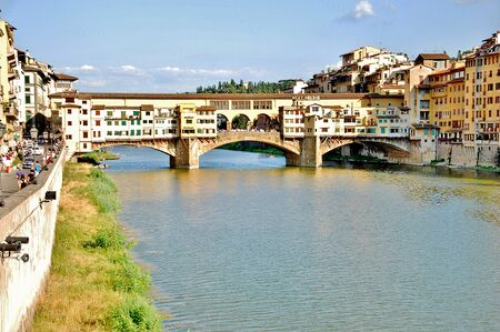 river arno: Places of italy old bridge over the river Arno in the city of Florence