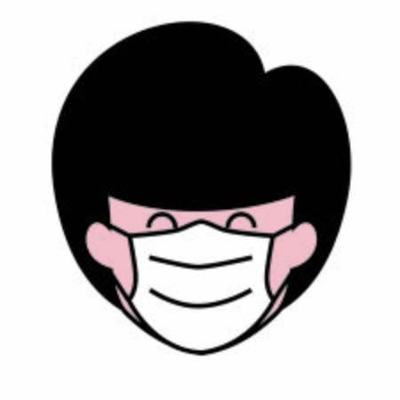 Female cartoon avatar wearing face mask