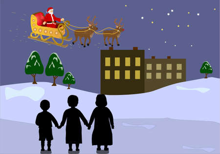 Santa Claus with reindeer, sleigh flying. Christmas gifts and children watching him.