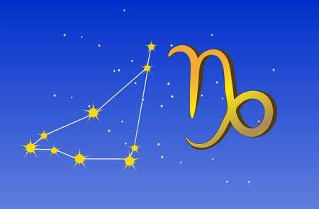 Capricorn zodiac sign and constellation Illustration
