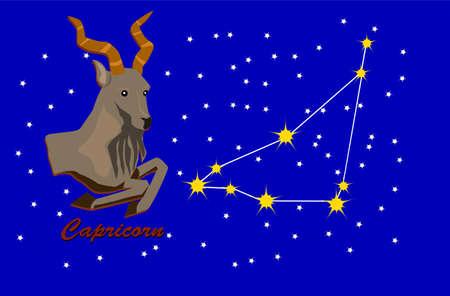 capricorn and zodiac sign constellation Illustration