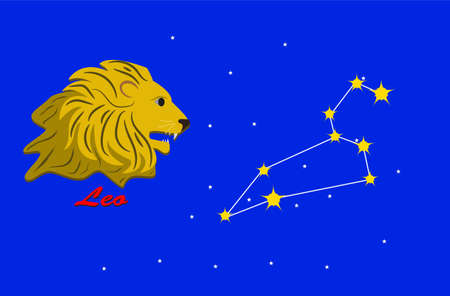 Leo and zodiac sign constellation
