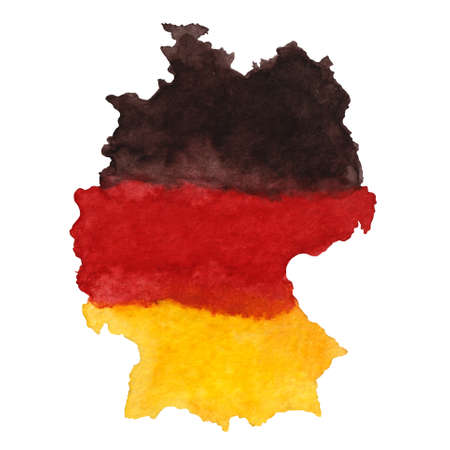Hand drawn watercolor oktoberfest element of holyday set, Germany map Фото со стока - 131263838