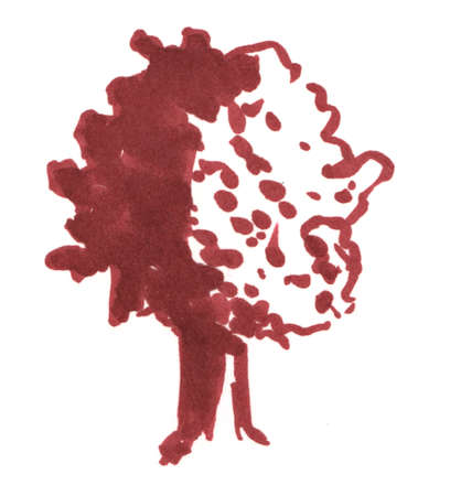 Trees sketch, oak hand drawn markers illustration isolated on white background