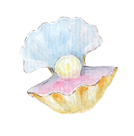 Watercolor sketch of pearl in a shell isolated on white background.Hand drawn illustration