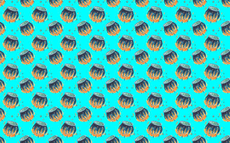 Seamless pattern with Steel cauldron with boiling green magic potion on blue background.