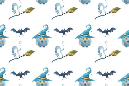 Watercolor Halloween seamless pattern. Hand painted on white background. Cat, bat, broom, owl, wizards hat. Фото со стока