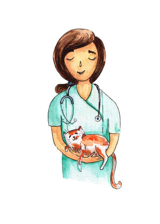 The vet holds the cat in his arms. Watercolor illustration.