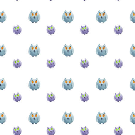 Seamless pattern of owls on white background Halloween watercolor illustration