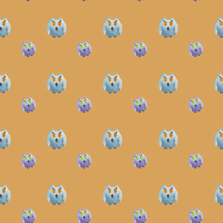 Seamless pattern of owls on beige background Halloween watercolor illustration Фото со стока