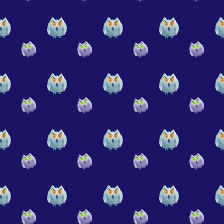 Seamless pattern of owls on blue background Halloween watercolor illustration Фото со стока