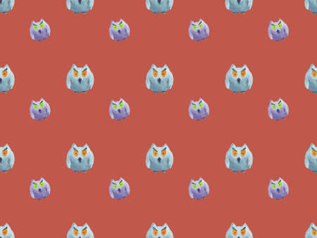 Seamless pattern of owls on red background -Halloween watercolor illustration