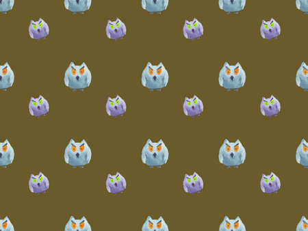 Seamless pattern of owls on khaki background Halloween watercolor illustration