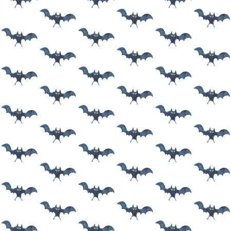 Seamless pattern with bats on white background