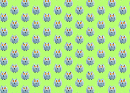 Seamless pattern of owls on a light green background