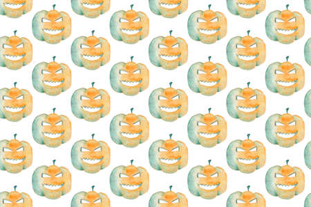 Watercolor Halloween seamless pattern. Hand painted Pumpkin.