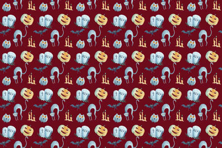 Watercolor seamless pattern on Halloween on magenta background.