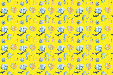 Watercolor seamless pattern on Halloween on yellow background. Фото со стока