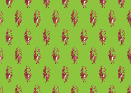 Birch hand drawn markers illustration,seamless pattern on green background.