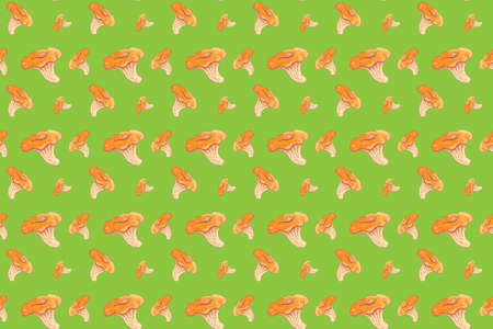 Seamless pattern with mushroom chanterelle painted with watercolor.
