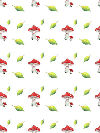 Seamless pattern watercolor Fly agaric and leaves on white background.
