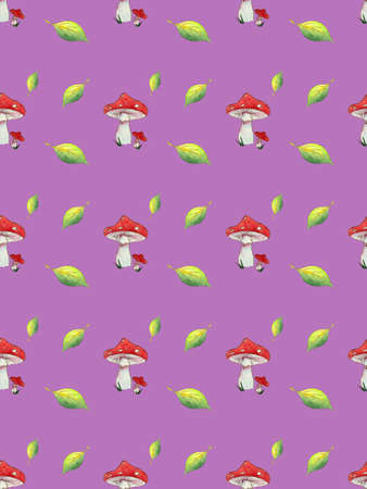 Seamless pattern watercolor Fly agaric and leaves on purple background.