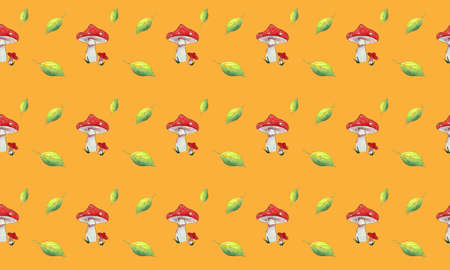 Seamless pattern watercolor Fly agaric and leaves on orange background.